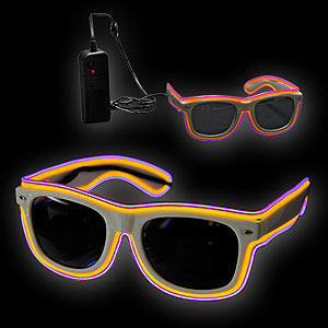 0775-077 EL Neon Glasses Double Trouble gelb lila